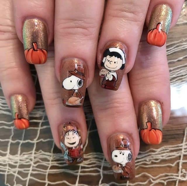 brown thanksgiving nail ideas