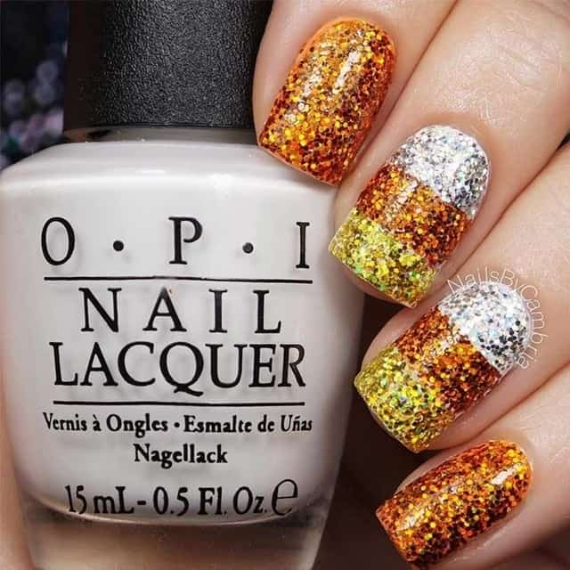 glitter thanksgiving nails
