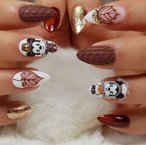cable knitted thanksgiving nails